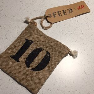 FEED H&M burlap gift bag pouch new with tags